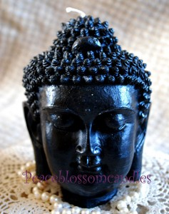 Beeswax Black Buddha Head Candle