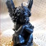 Beeswax Angel Candle Black