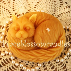 Beeswax Cat Candle