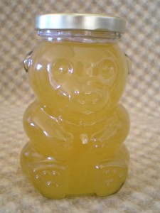 Glass Bear Honey Jar