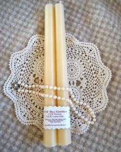 White Beeswax Hex Tapers