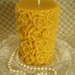 Beeswax Rose Pillar
