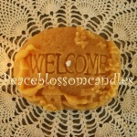 beeswax candle welcome rock