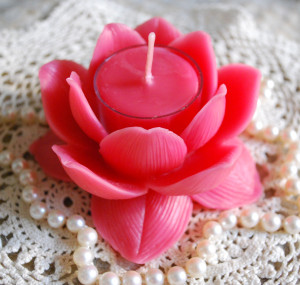 Pink Beeswax Lotus Holder